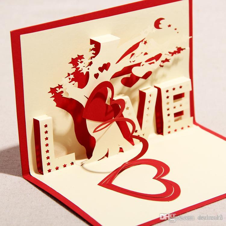 Newest 3d Handmade Greeting Cards ValentineS Day Love Tree Art – Greeting Cards for Valentine