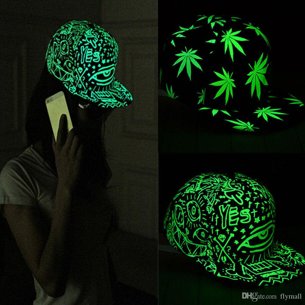 Baseball Cap Mode Hommes Femmes Hip Hop Yeux Glow Graffiti / Fluorescent Maple L