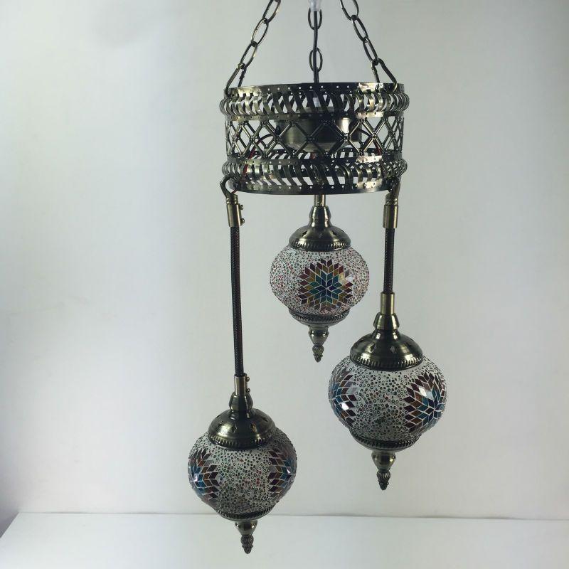 Turkish Hand Crafted 3 Balls Mosaic Chandelier Bathroom