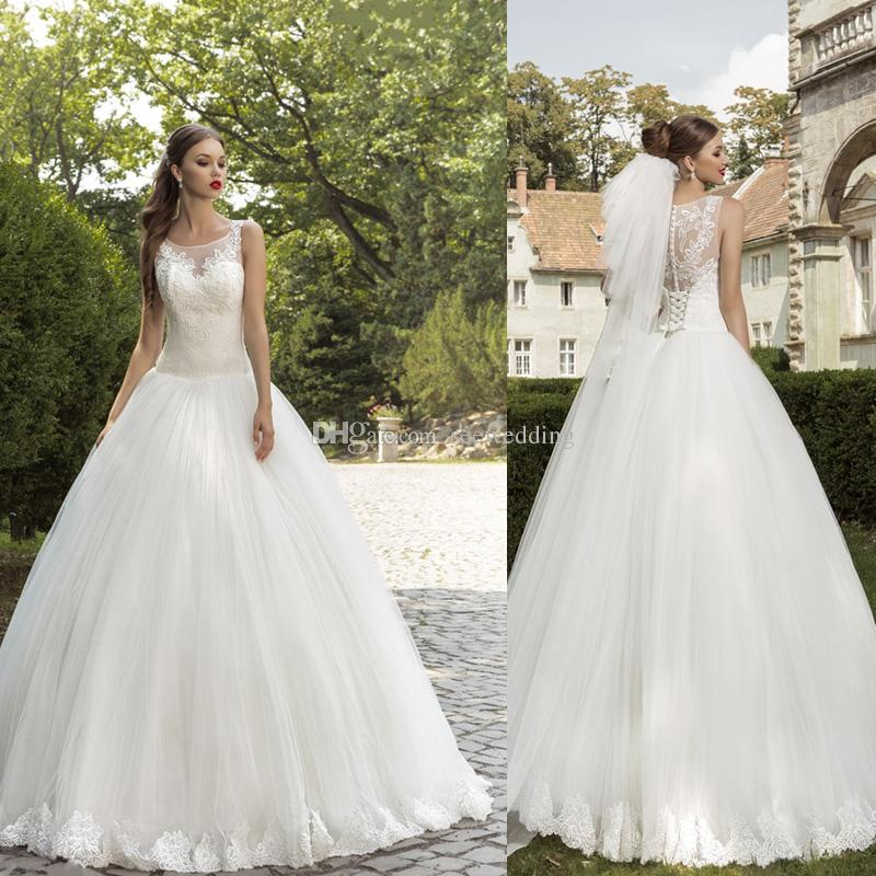 2015 garden wedding dresses ball gown lace appliques sheer for Garden party wedding dress