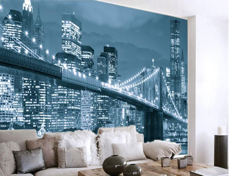 New York Nights In Black And White Personalized Wallpaper Mural 3d ...