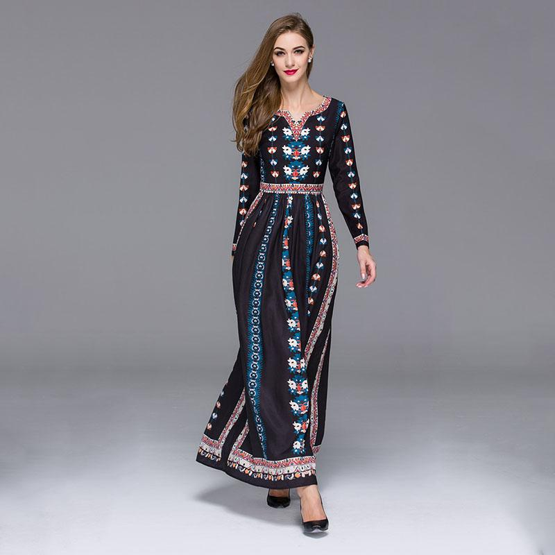 Women Maxi Dresses V-neck Vintage 70s Mexican Ethnic Floral Dress ...