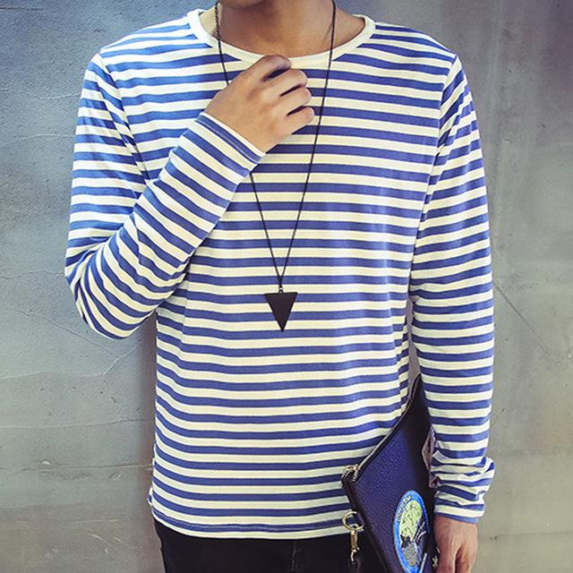 Autumn black white red blue green striped t shirt men long for Blue and white striped long sleeve t shirt