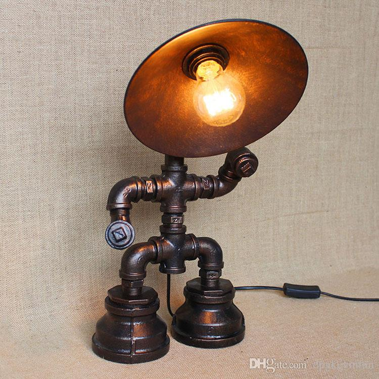 Vintage Water Table Lamps Water Pipe Table Lamp Edison Light Bulb Lamp Retro  Iron Pipe With Iron Shade Loft Bar Cafe Table Lamp Water Pipe Table Lamp ...