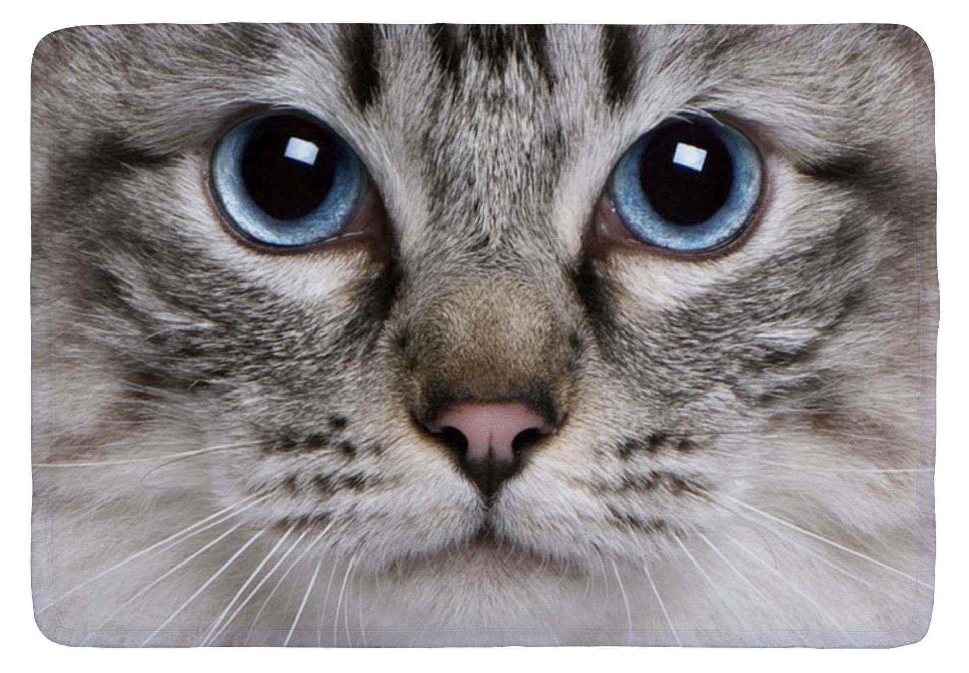 Floor mat big cute cat animal face print customized non - Alfombras animal print ...