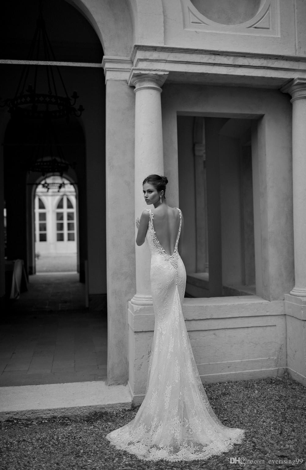 Dramatic open back lace wedding dresses sleeveless mermaid for Wedding dresses with dramatic backs