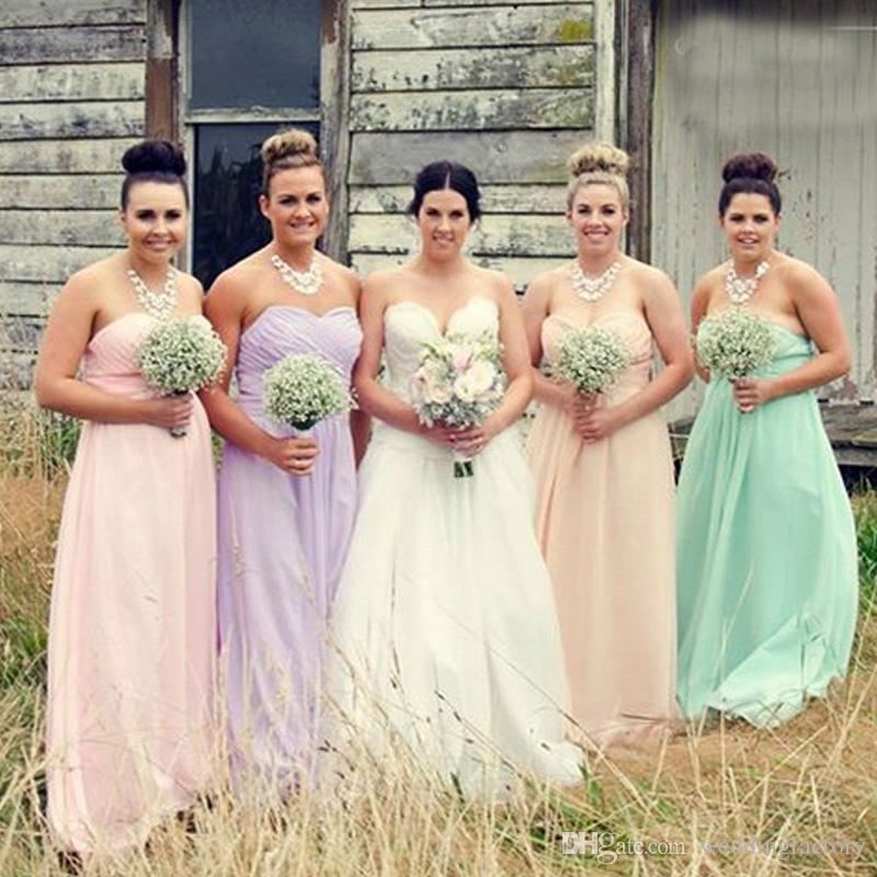 2015 spring summer lilac bridesmaid dresses chiffon for Spring wedding bridesmaid dress colors