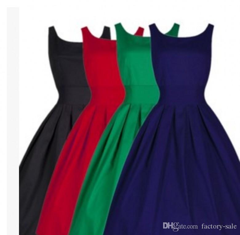 2016 cheap christmas summer women hepburn dresses o neck black retro