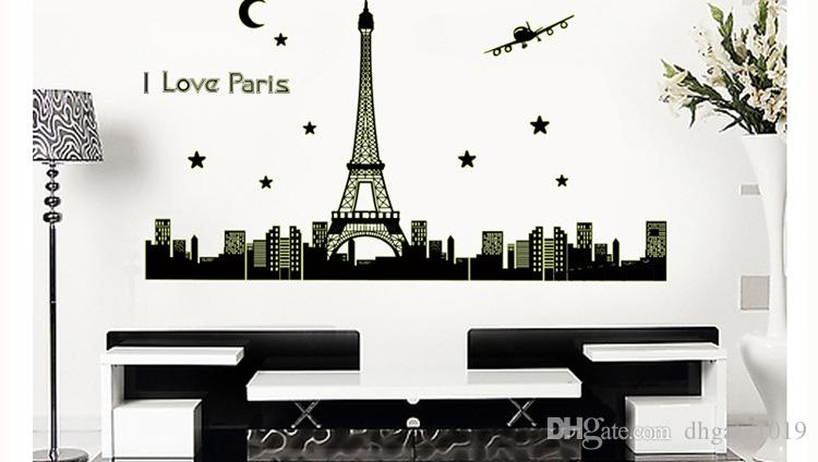 New paris tower night glow stickers background wall for Paris wallpaper for bedroom