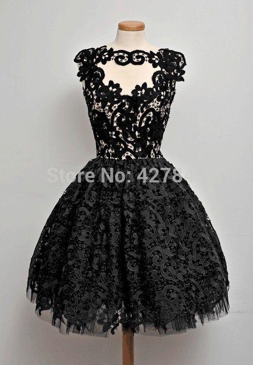 Vintage Bateau Neck Sheer Bodice Short Ball Gown Little Black Lace ...