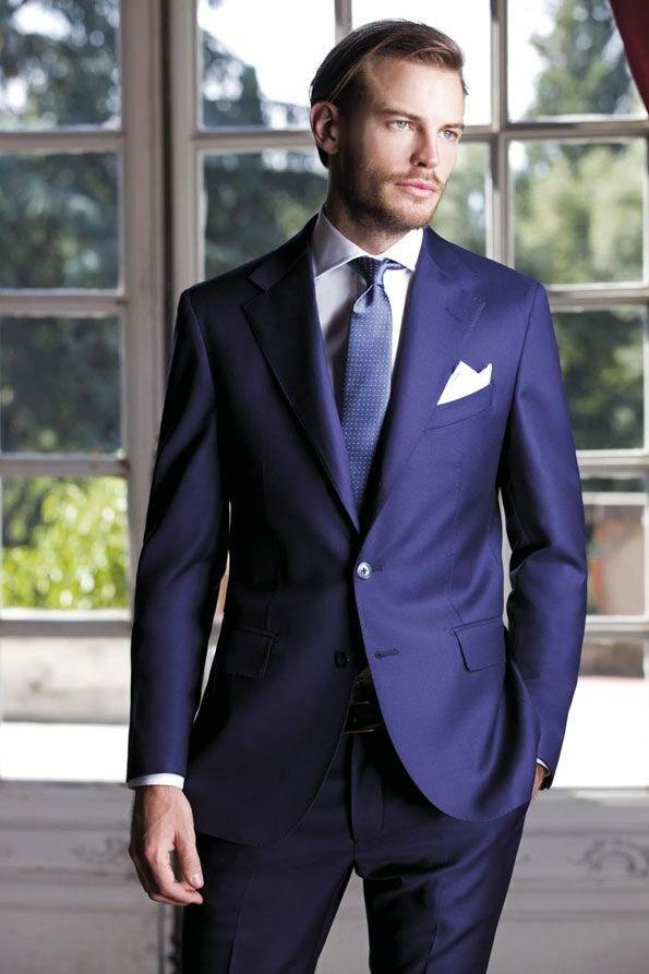 New Desig Notch Lapel Blue Groom Tuxedos Slim Fit Business Suit ...