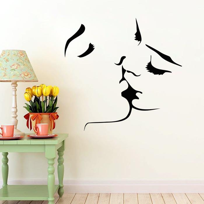 Sticker Wall Art face kiss couple wedding wall art sticker decal home decoration