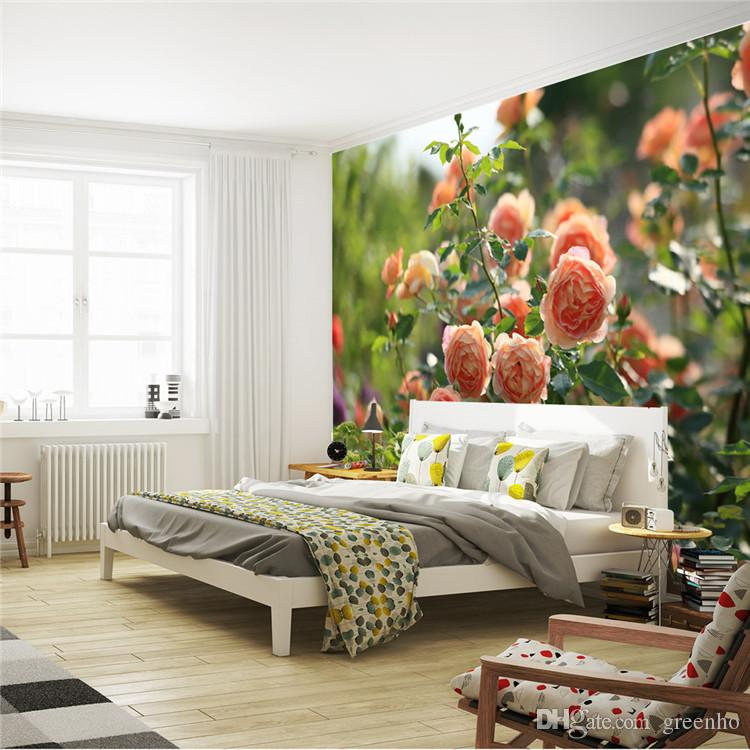Romantic china rose photo wallpaper flowers wall mural for Best 3d wallpaper for bedroom