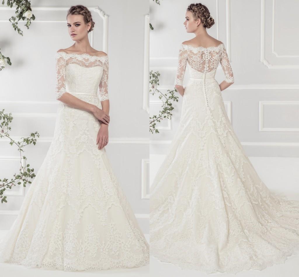 Discount f The Shoulder Bateau Lace Wedding Dresses Half