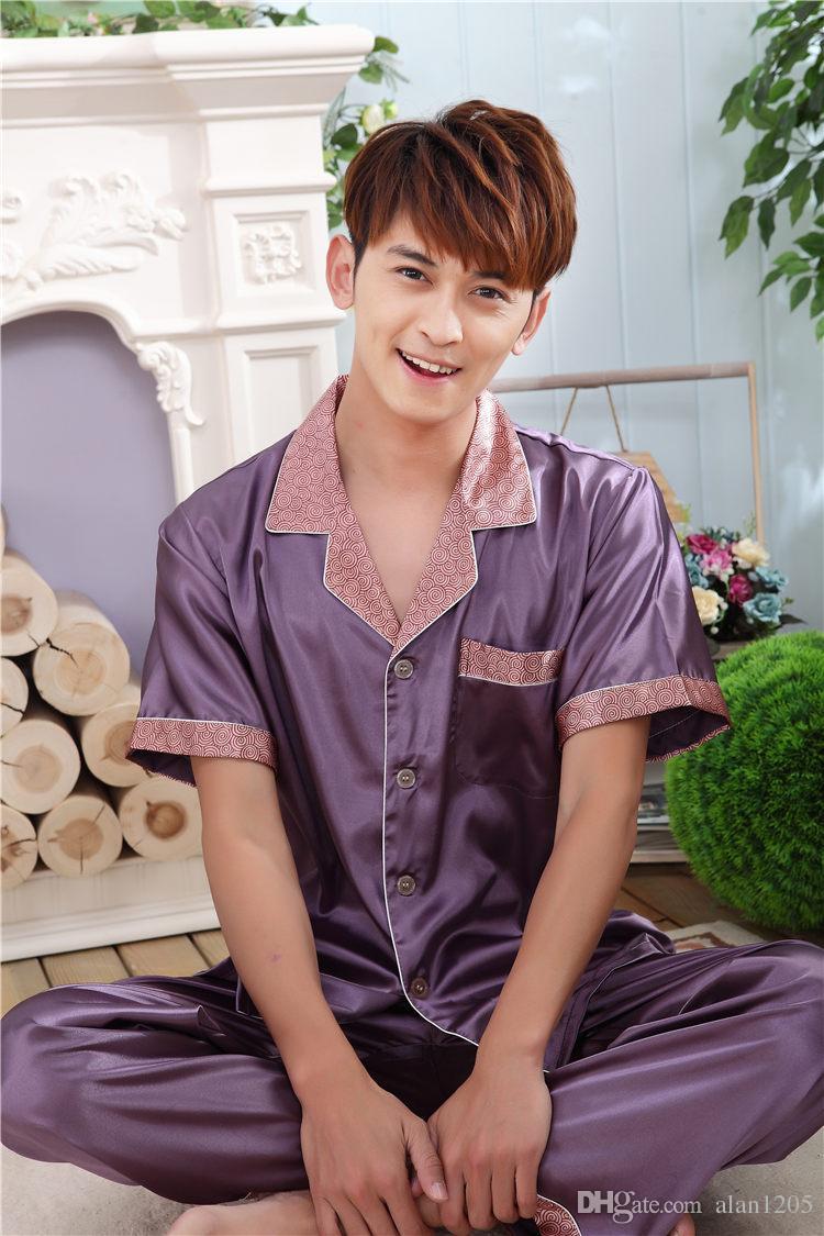 Mens Silk Satin Pajamas Set Pajama Pyjamas PJS Sleepwear Set Short ...