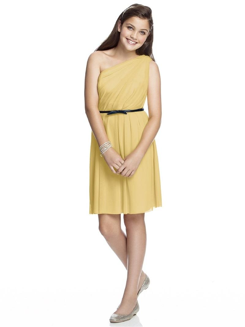 New one shoulder young girls bridesmaid 2015 short junior new one shoulder young girls bridesmaid 2015 short junior bridesmaid dress chiffon sash yellow party dress for girls fj357 short junior bridesmaid dress ombrellifo Images