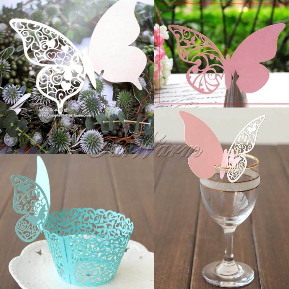 Table Mark Wine Glass Laser Cut Butterfly Name Place Cards For ...