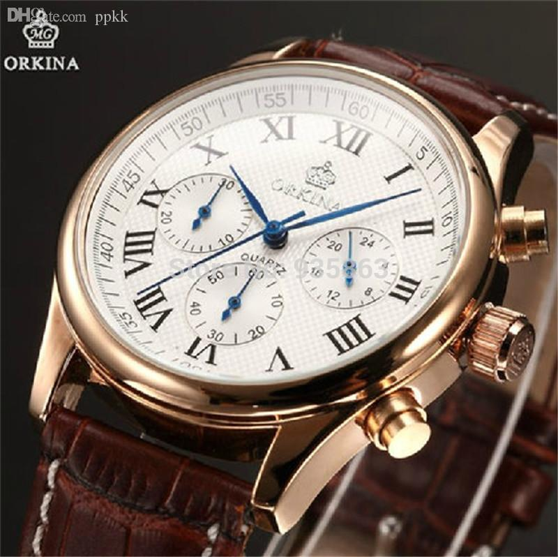 whole orkina watch men quartz leather strap six stitches cheap 20mm to 29mm wristwatch men best new out tags yes design quartz wristwatch