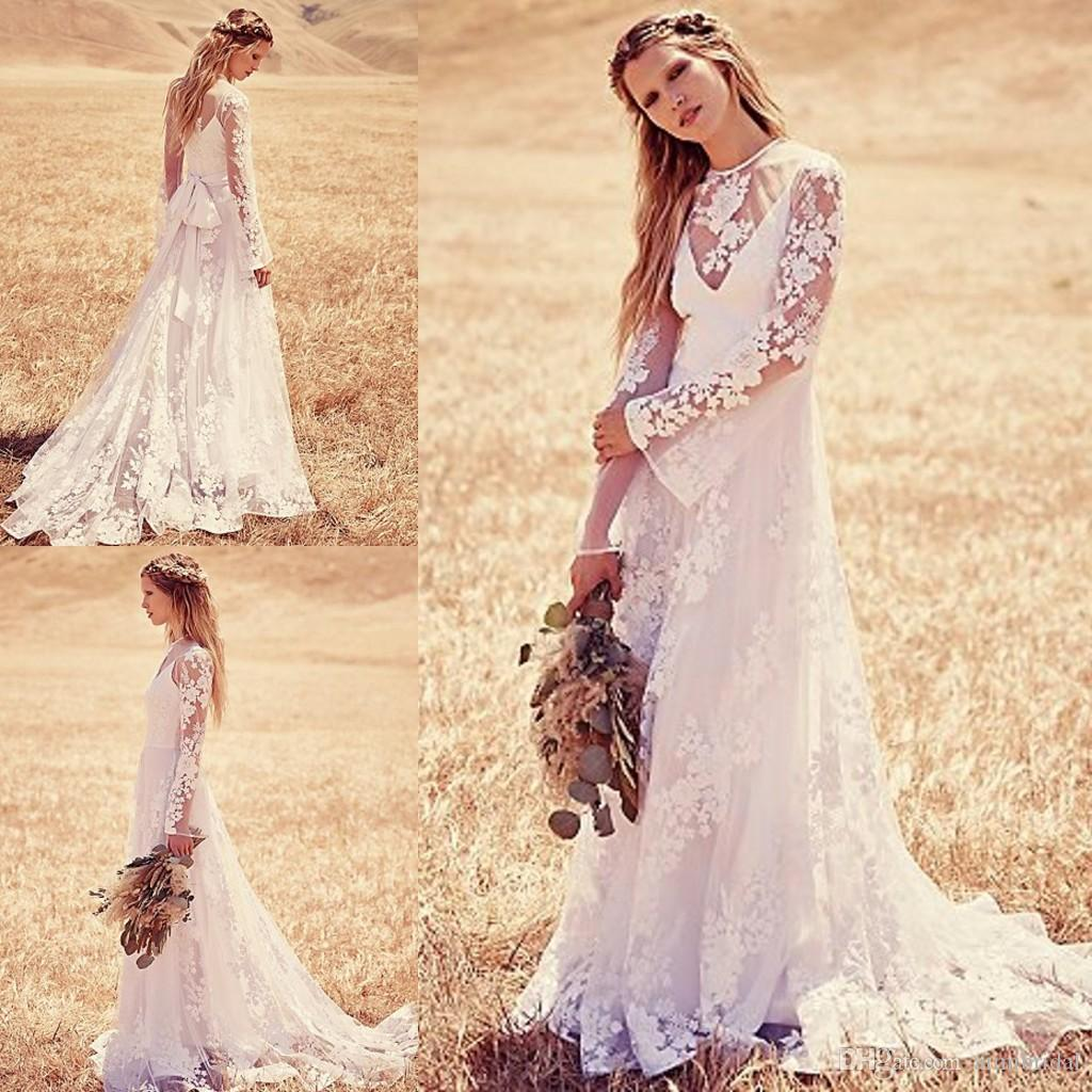 Vintage lace bohemian wedding dresses 2015 a line jewel for Cheap boho wedding dresses