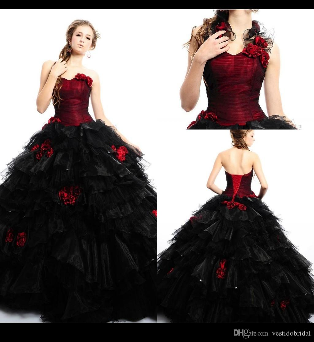 Vintage Red And Black Wedding Dress 2016 Handmade Flower Ruffle ...