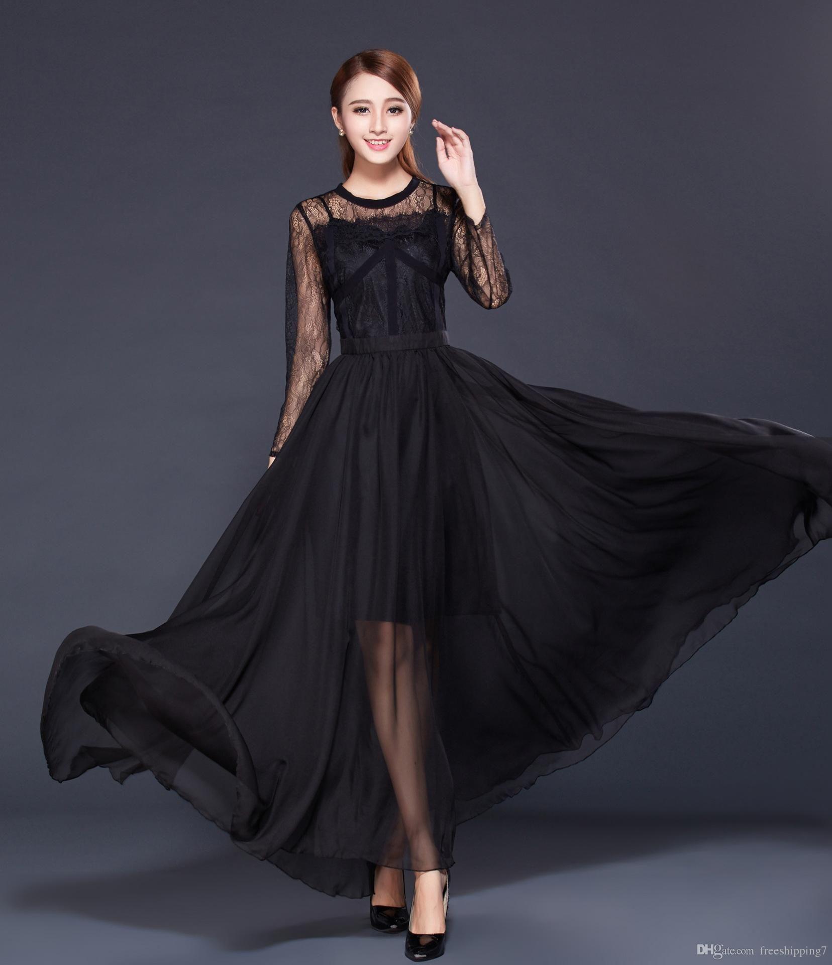 Runway Dresses line Sale Dhl Free Black Long A Line
