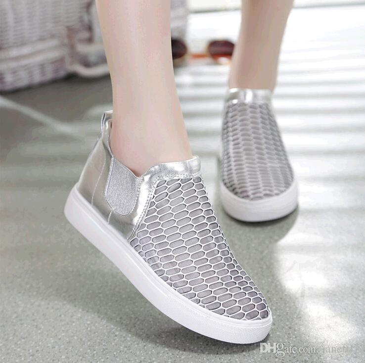 Spring Summer 2015 Women Casual Flat Sneakers Woman Breathable Mesh Platforms Sports Shoes