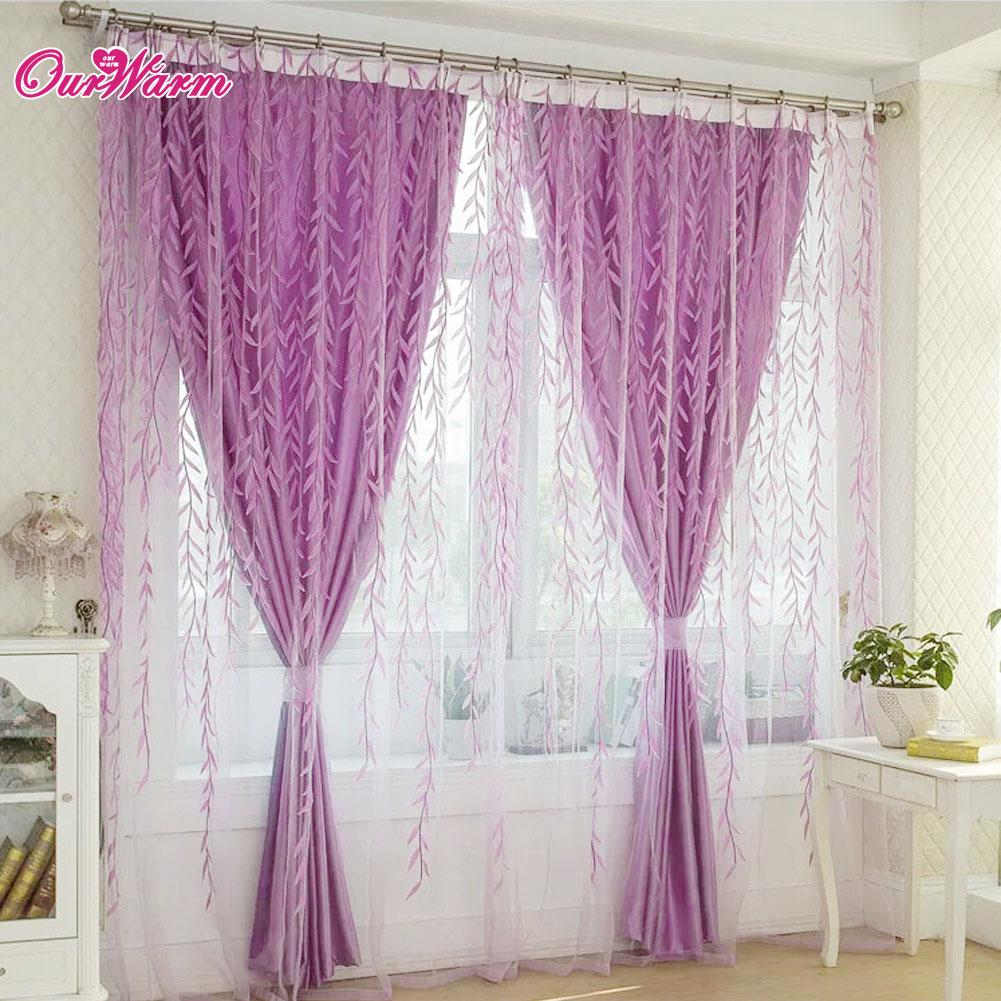 Bedroom window curtain designs - 2017 Bedroom Window Curtain Designs Green Purple 100 X 200cm Willow Voile Sheer Curtains Panel Drapes