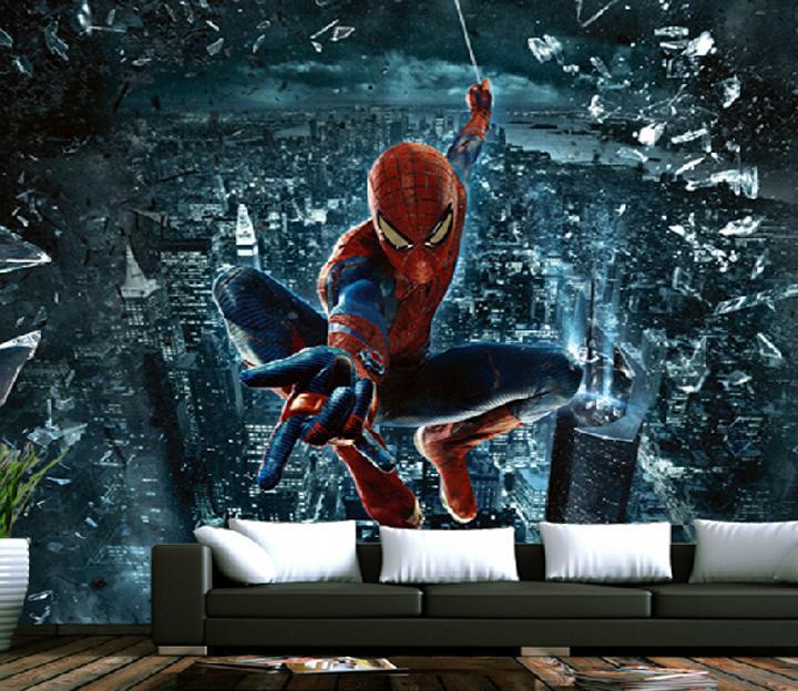 Spiderman murals 3d boys bedroom wallpaper carton wall for 3d wallpaper for boys