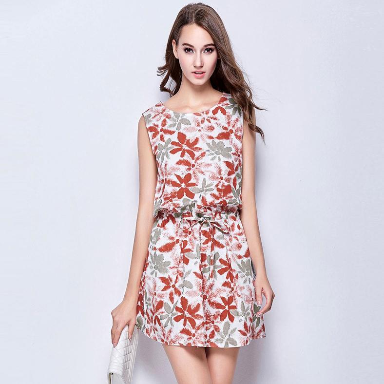 Women Summer Sleeveless Knee Length Dresses Lady Fashion Print ...