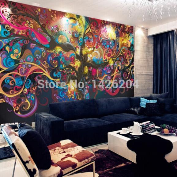 Living Room Tv Background Wall Wallpaper Murals Personalized ...