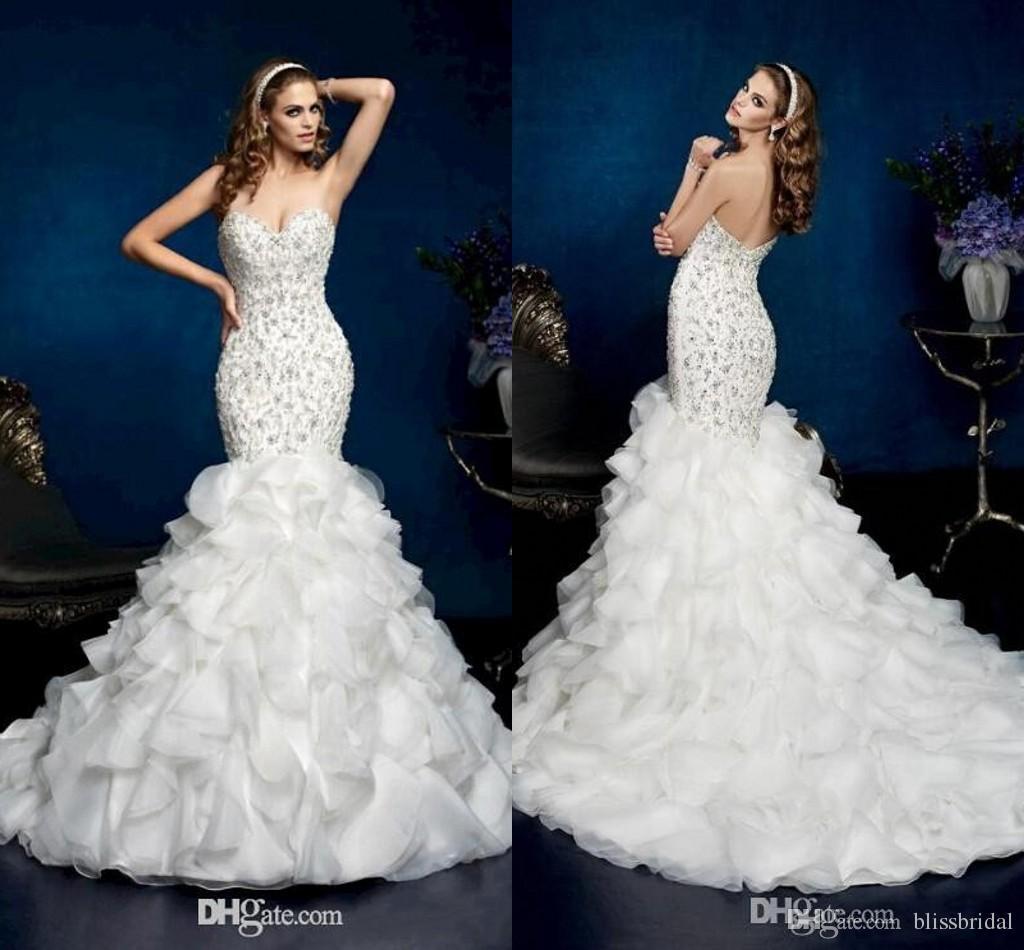 Luxury Crystal Beaded Mermaid Wedding Dresses Bridal Gowns