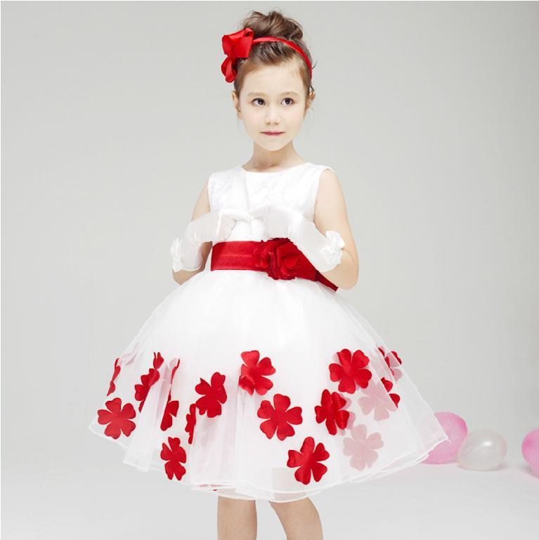 Designer Kids' Dresses Pretty Ball Gown Knee Length White And Red ...