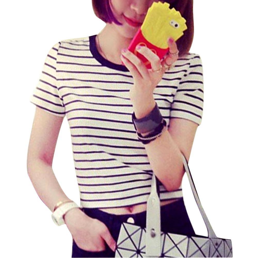 Good quality black t shirt - New 2016 Summer Korean Crop Tops Striped Cotton Short Sleeve T Shirt Women Top Tee Femme Loose T Shirt Ladies Tops White Black High Quality T Shirt Girl