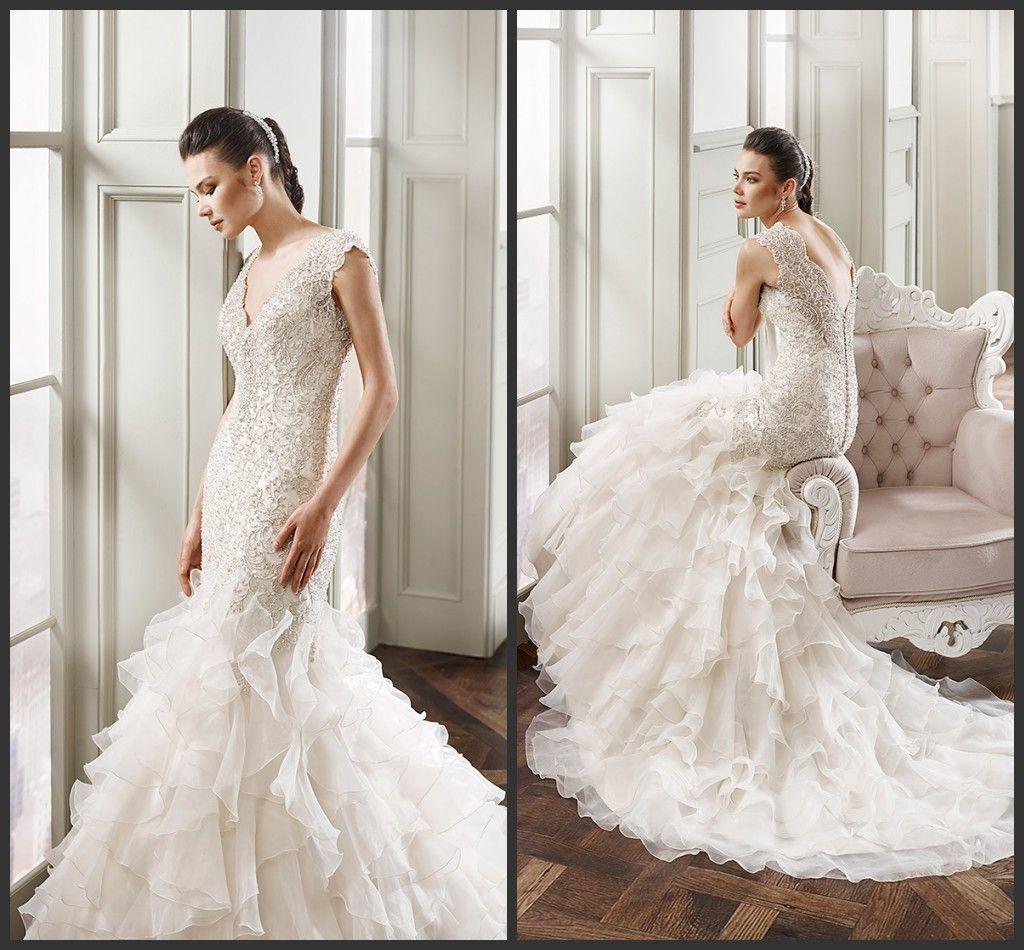 2016 Gorgeous Beaded Mermaid Wedding Dresses V Neckline