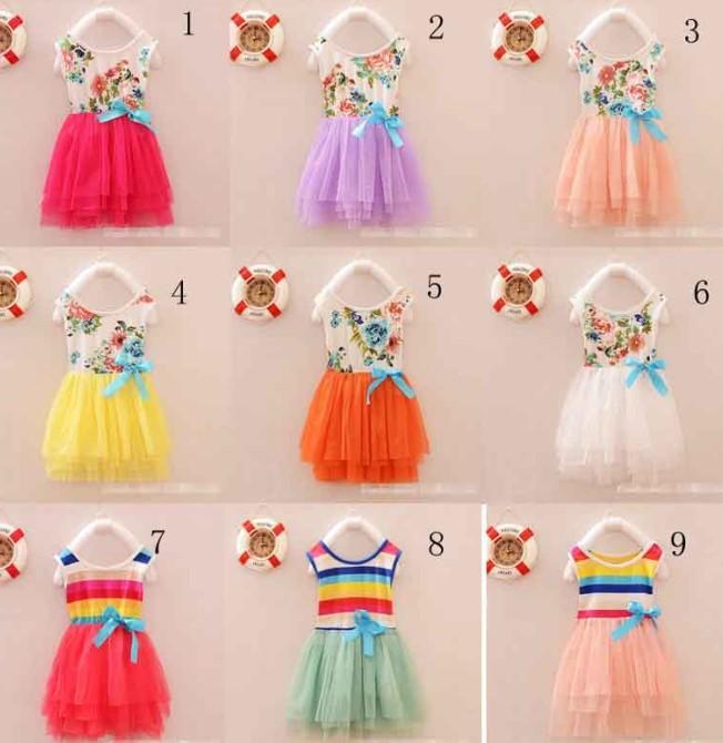 Best Fashion Baby Girls Sun Dress Rainbow Dress Cake Dresses Wide ...