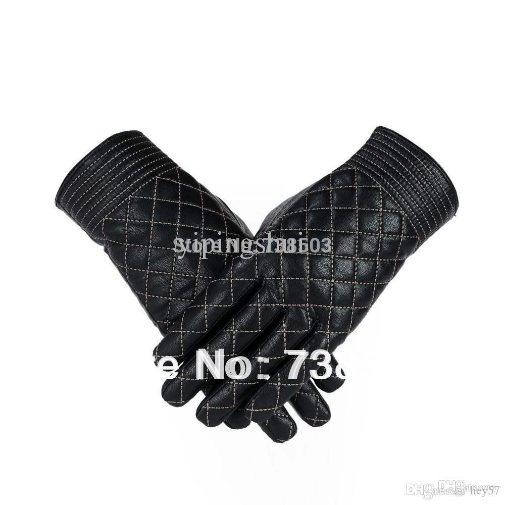 Driving gloves wholesale - Wholesale High Quality Solid Black Leather Gloves Short Gloves Women S Winter Driving Gloves Motorcycling Gloves
