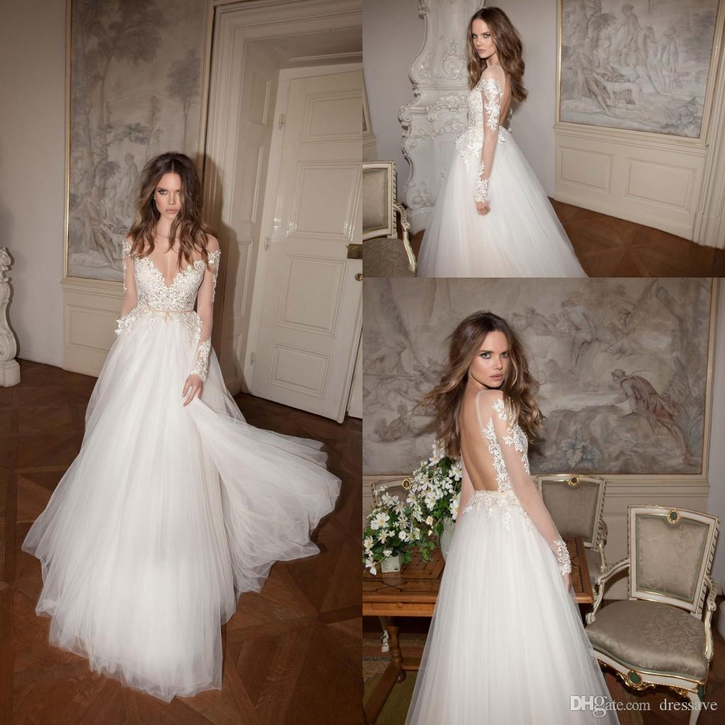 2016 New Vintage Lace Long Sleeves Wedding Dresses f