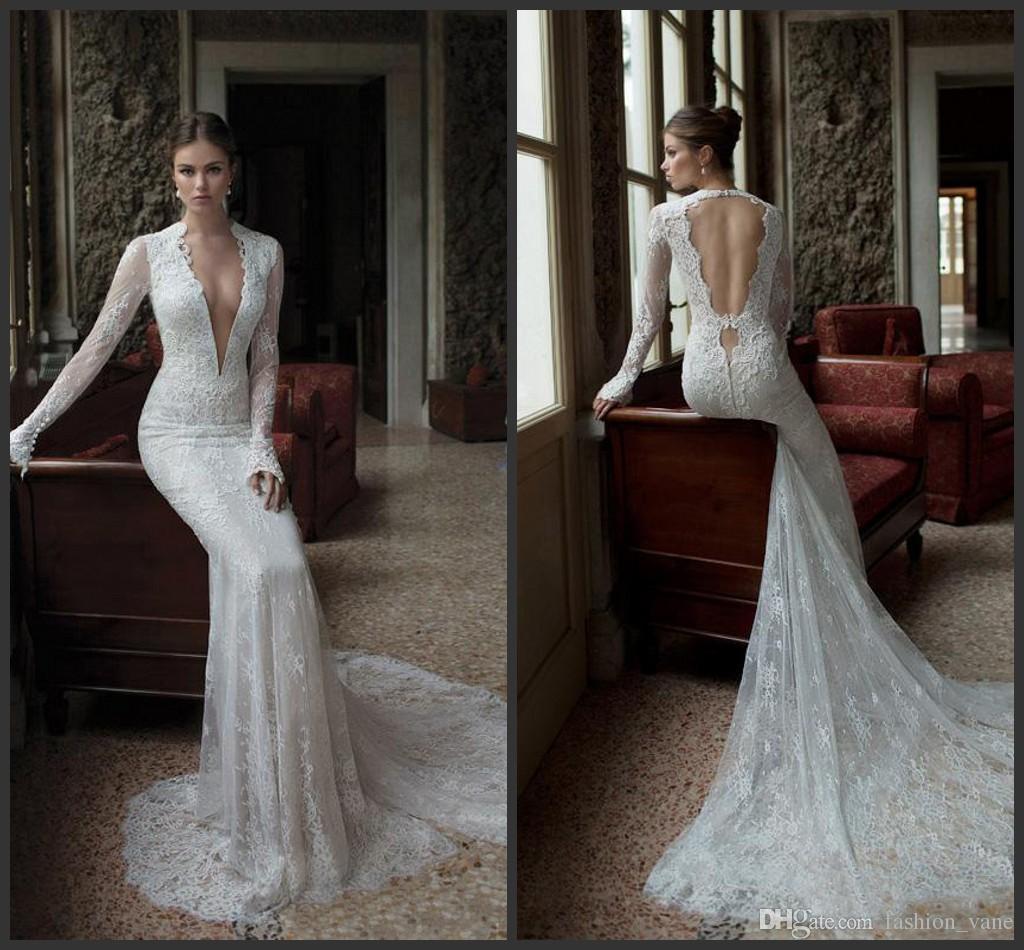Berta 2016 Full Lace Wedding Dresses Mermaid Deep V Neck