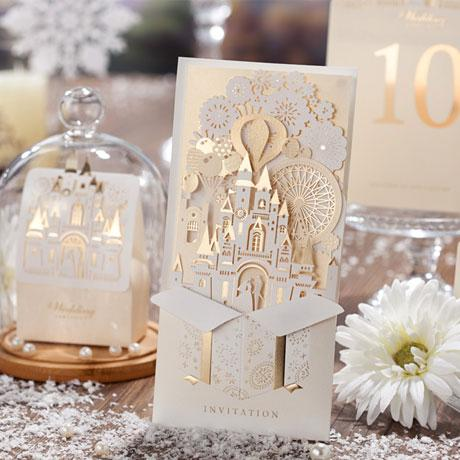 3D DIY Gold Castle Wedding Invitation Luxury Custom Made Card For
