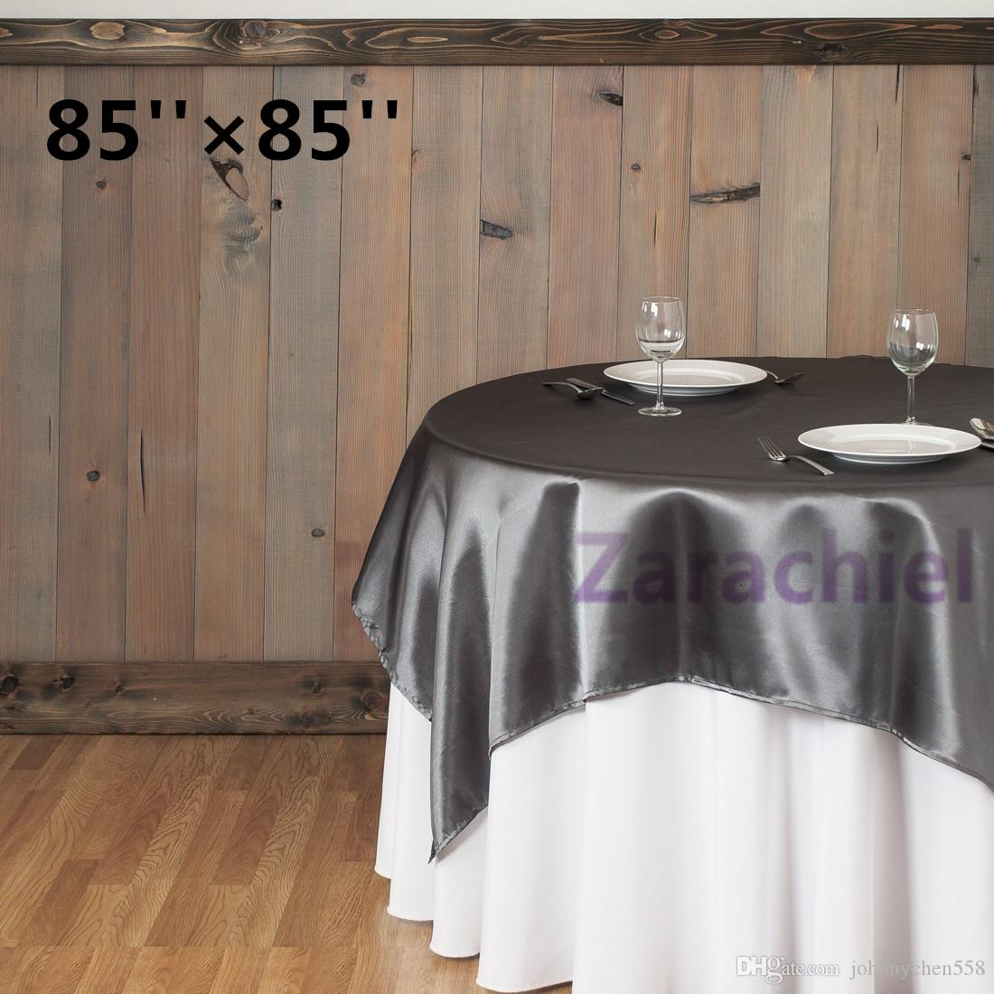 Wholesale Black Tablecloth Overlay 215cmx215cm 85X85 SquareTop Table  Decorations Wedding Party Banquet Supply Multi Colors Table Overlay Table  Overlay For ...