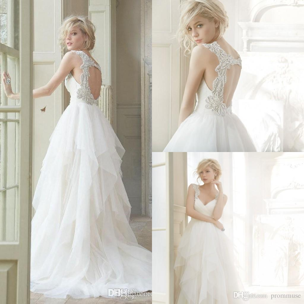 vintage wedding dresses 2017 beach hayley paige real photos custom made crystals sexy backless plus size sweep train long bridal gown 2017 wedding dress