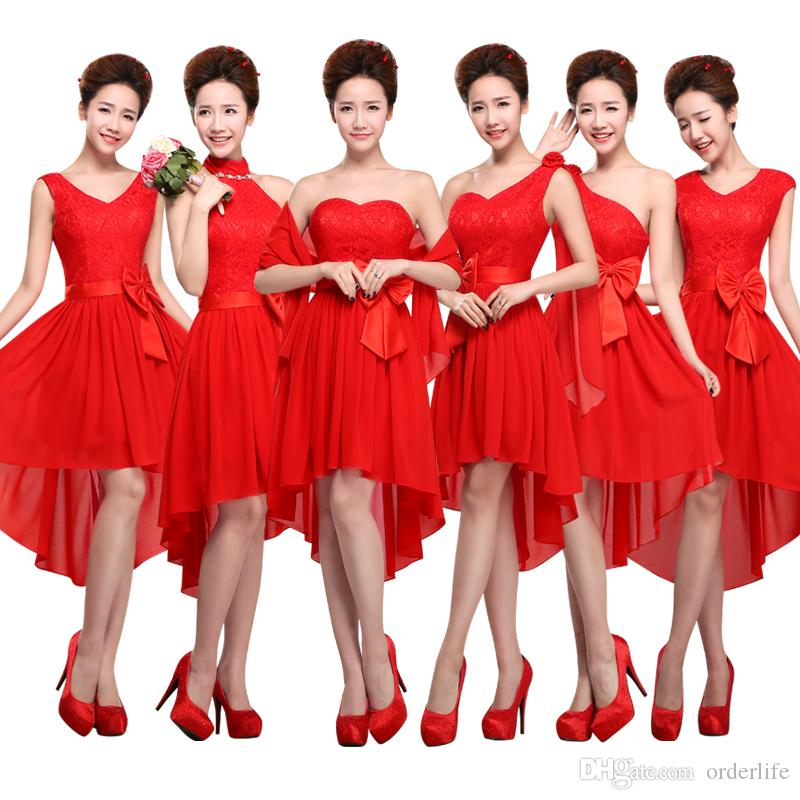 A005 red bridesmaid dress short front long back champagne for Silver and red wedding dresses