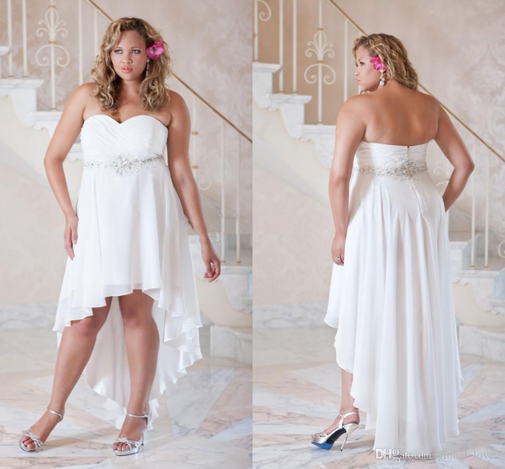 2016 New Plus Size Wedding Dresses Beaded Short White