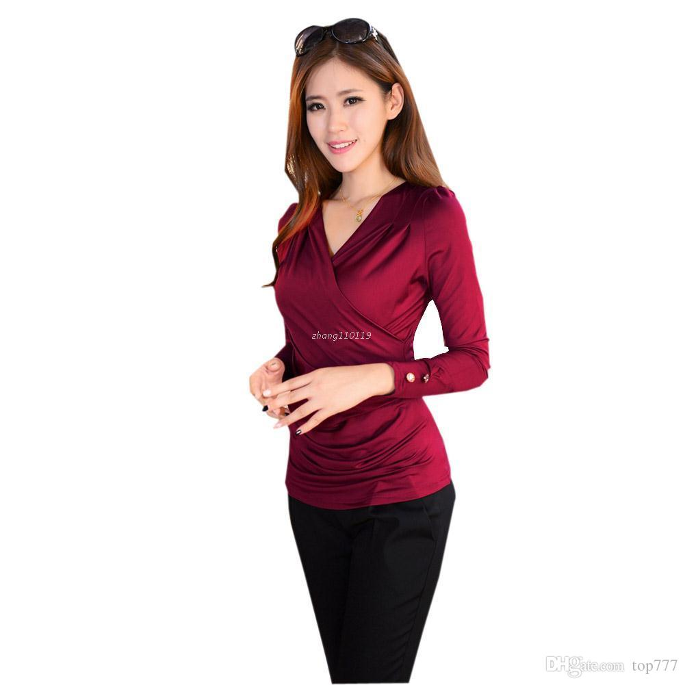 Black Red Brown V Neck Ruched Wrap Front Shirt Women Blouses Long ...