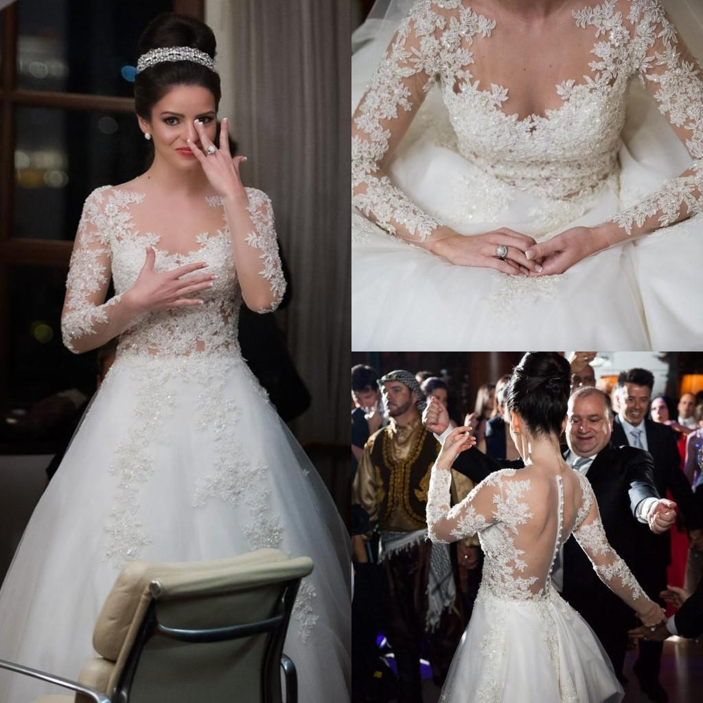 Cream White Appliqued Wedding Dresses Long Sleeves A Line
