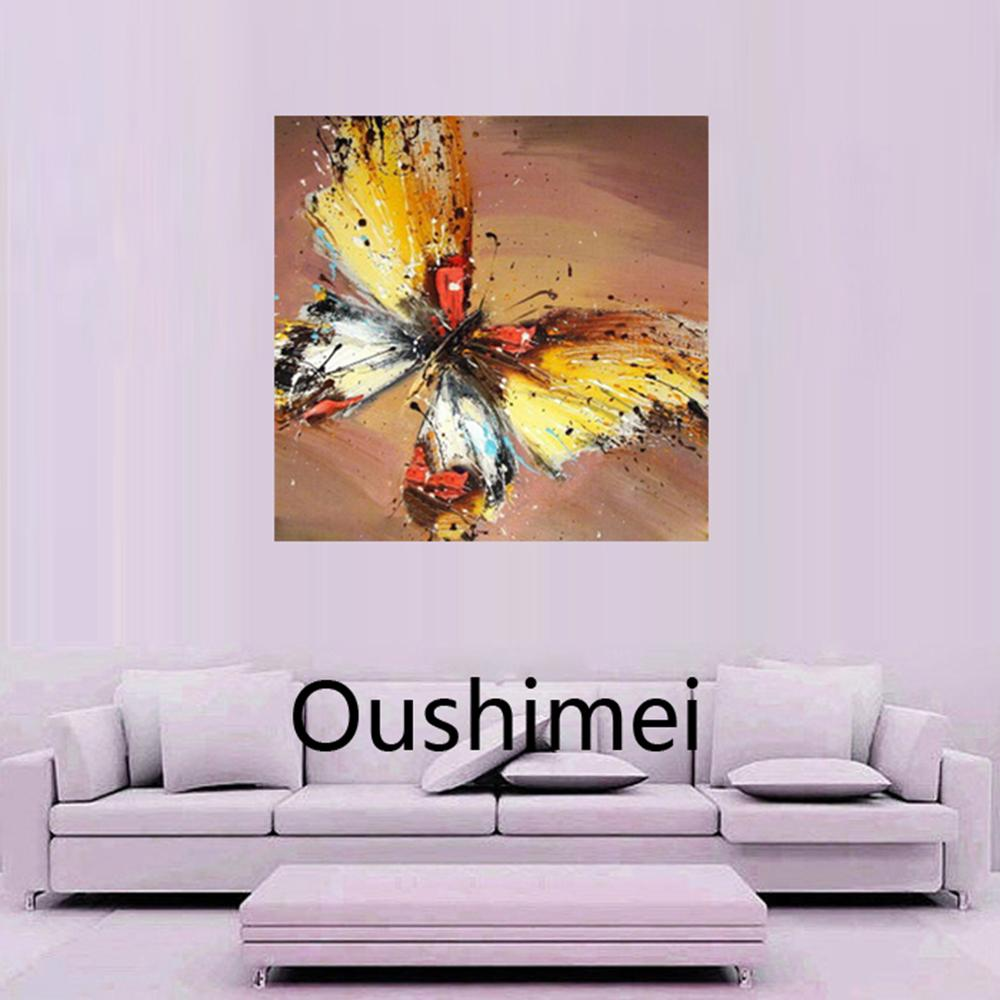 Living room oil paintings - Simple Hand Painted Oil Painting Brown Butterfly Painting Knife Picture On Canvas For Living Room Decor Wall Paintings Animals Art With Oil Painting Ideas