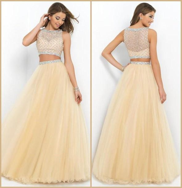 Vintage Elegant Beaded Top Champagne Tulle Puffy Two Piece Long ...