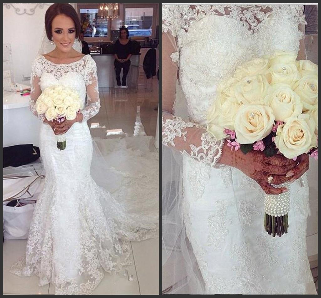 2015 Fabulous Boat Neckline Lace Mermaid Wedding Dresses