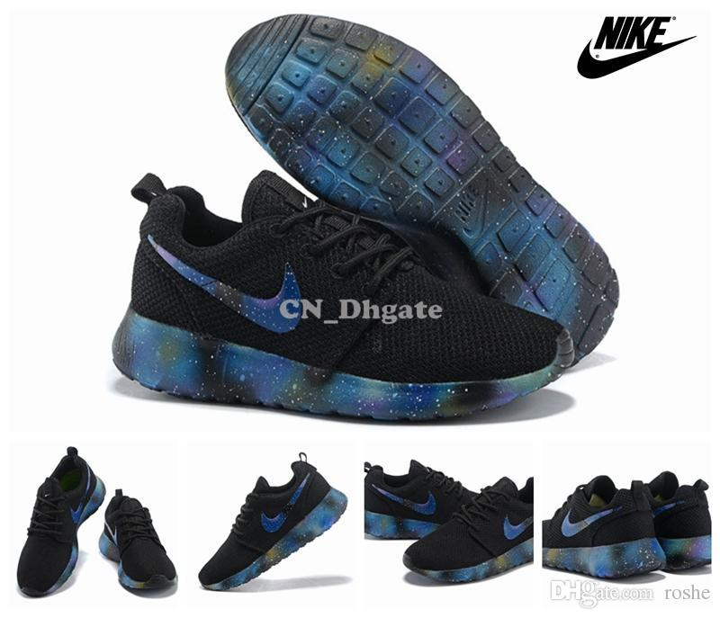 2015 Nike Roshe Run Black Blue Galaxy Swoosh Men Running Shoes