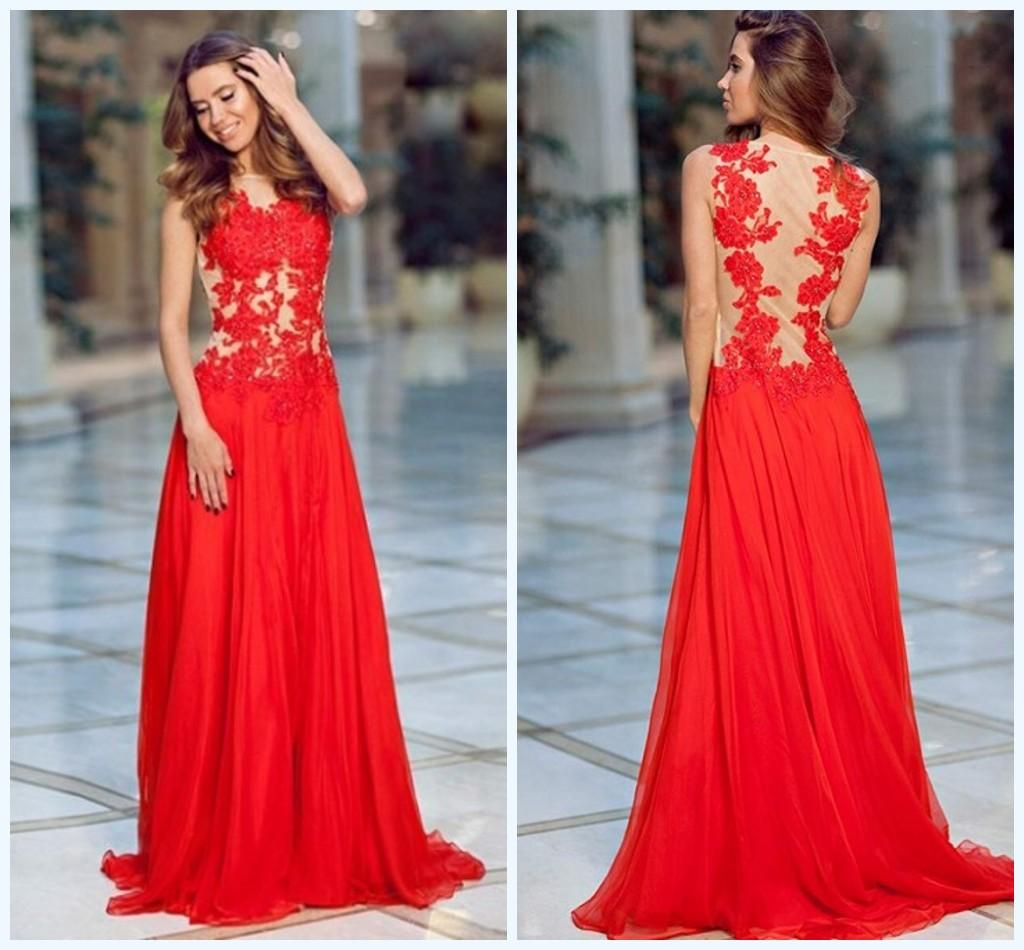 2016 New York Fashion Evening Dresses Seethough Appliques Lace ...